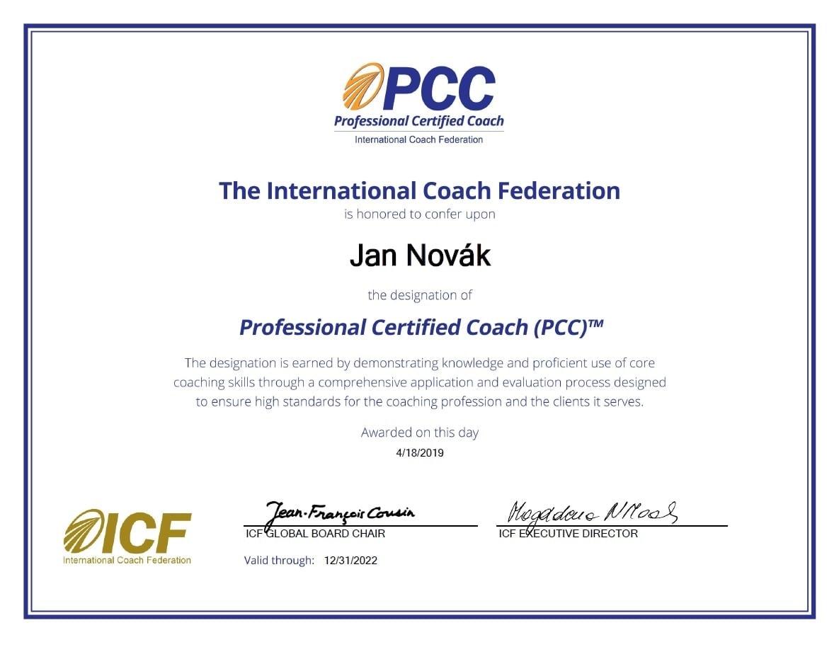 Od Velikonoc s certifikací Professional Certified Coach (PCC)